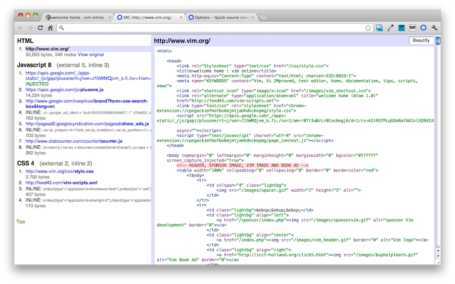 Quick source viewer - Chrome extension